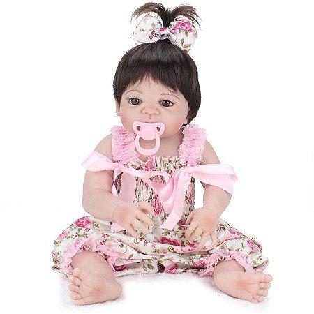 Bebê Reborn Ellen Toda de Silicone Frete Grátis