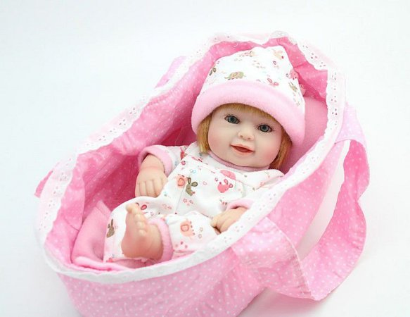 Bebe Reborn Loira Julia Com Cestinha