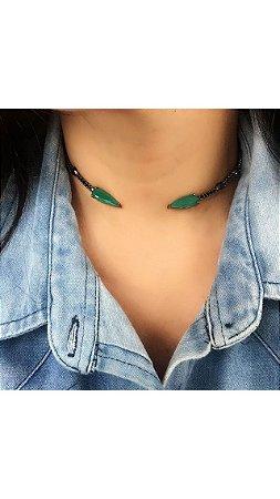 DUPLICADO - Choker ródio cravejada esmeralda