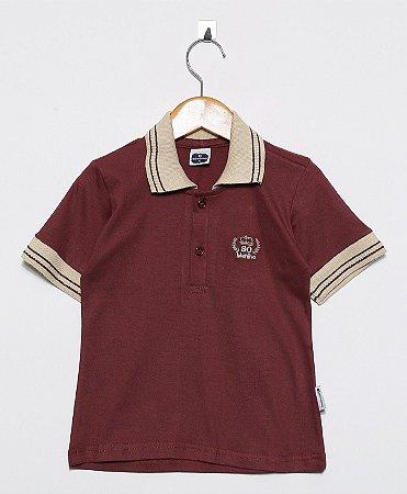 Camisa Manga Curta Polo Malha Vinho