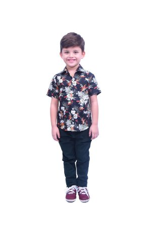Camisa Manga Curta Estampa Tropical Preta