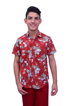 Camisa Manga Curta Estampa Tropical Vermelha