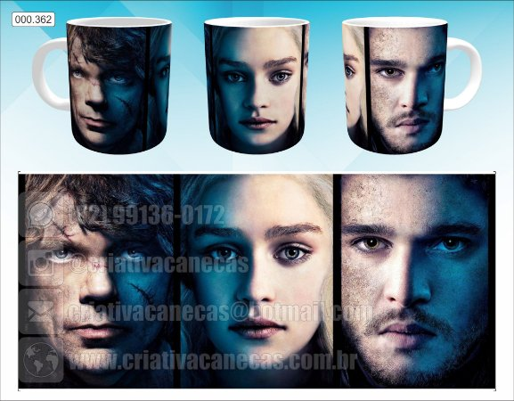 Caneca - Game of Thrones - Tyrion, Daenerys, Jon