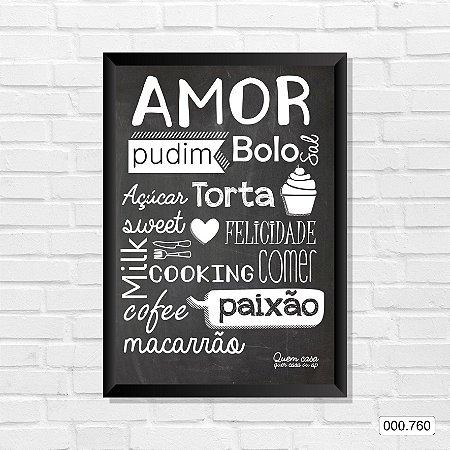 Quadro - Amor, Pudim, Bolo