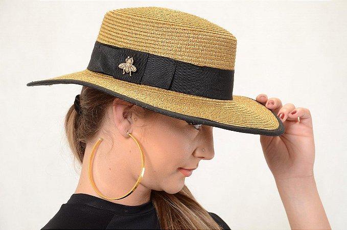 Chapéu Dourado de Palha com Proteção UV Aurum