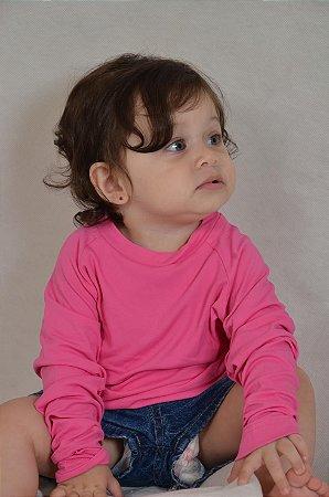 Camiseta Básica Manga Longa Com Proteção UV Para Bebês