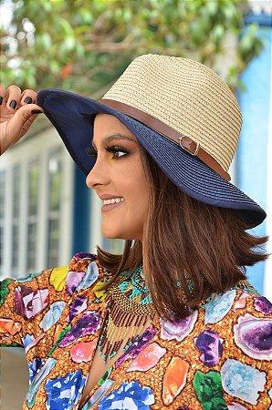 Chapéu Panamá Bicolor com Proteção Solar