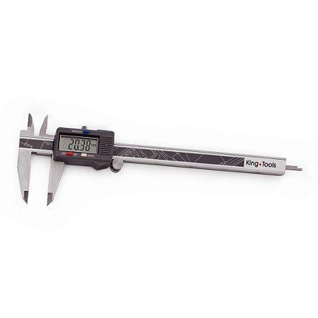 """Paquímetro Digital Dígitos Grandes 200mm/8"""" 0,01mm/.0005"""" King Tools 502.200BL"""