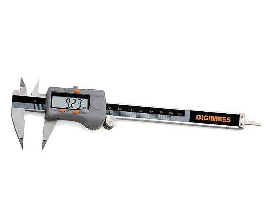 """Paquímetro Digital com Bicos Finos 150mm 0,01/.0005"""" Digimess 100.250"""