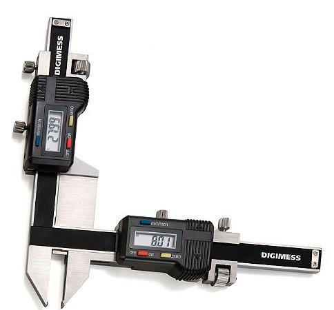 """Paquímetro Dig. para Medições de Dentes de Engrenagens 0,01mm/.0005"""" 1-25mm Digimess 100.280"""