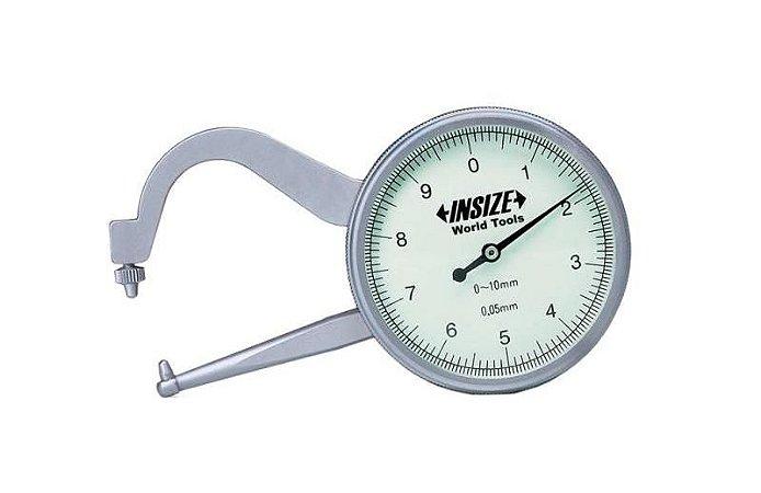 Medidor de Espessura com Relógio (comprimento dos bicos 60mm) 0,05mm 0-10mm Insize 2862-102