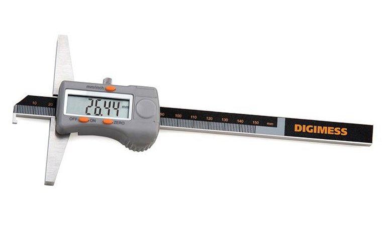 """Paquimetro Digital de Profund. com Gancho 150mm/6"""" 0,01mm/.0005"""" Base de Apoio 100mm Digimess 100.218"""