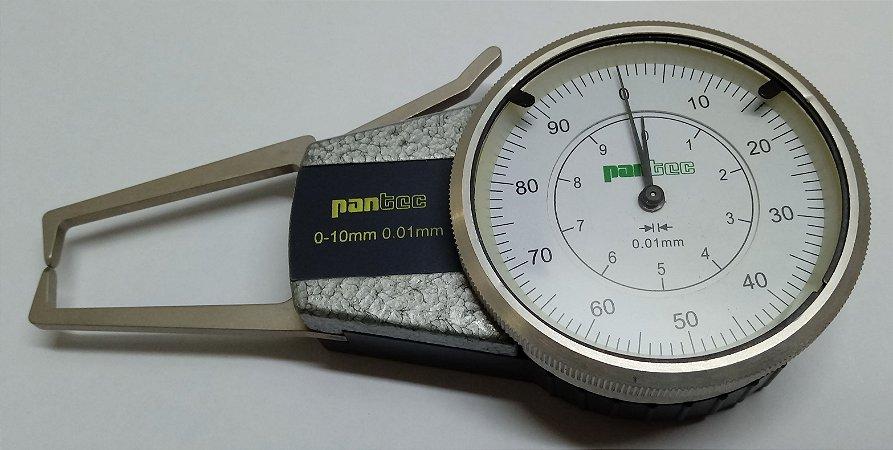 Medidor Externo c/ Relógio Analógico 0-10mm/0,01mm Pantec 12333-10