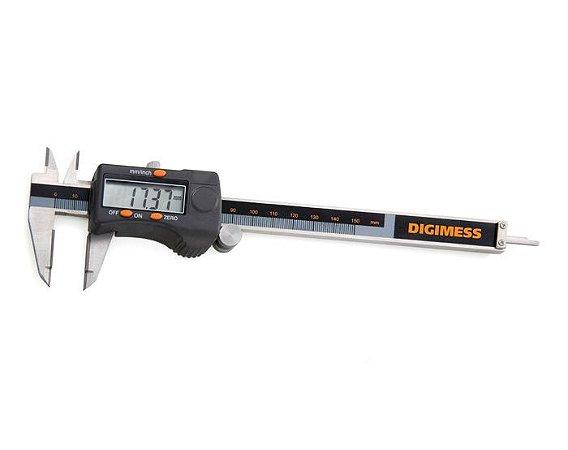 """Paquimetro Digital (Bicos e Orelhas) em Metal Duro 200mm/8"""" 0,01mm/.0005""""  Digimess 100.179B"""