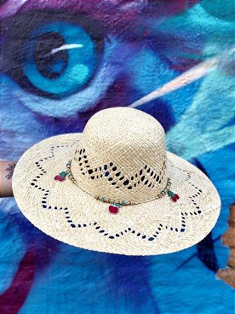 Chapéu Feminino - Palha com pingentes