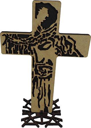 crucifixo de mesa madeira 30cm estilizado