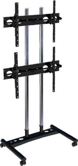 Pedestal com dois suportes de monitor para vídeo wall.