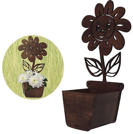 Cachepot de madeira decorativo carinha