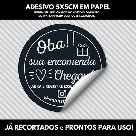 100 unidades de Etiquetas Adesivas Lacre 5x5cm Sua Encomenda Chegou!-  CONTATO DE SUA LOJA NO RODAPÉ DO ADESIVO.