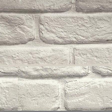 Papel de Parede Infantil Tijolinho Branco Texturizado Autocolante