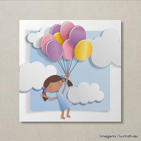 Quadro Infantil Menina com Balões