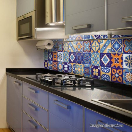 Adesivo de Azulejo Ladrilho Azul, Vermelho e Amarelo
