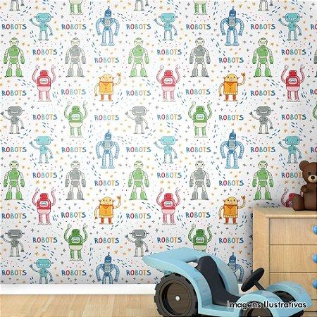 Papel de Parede Infantil Robô Texturizado Autocolante