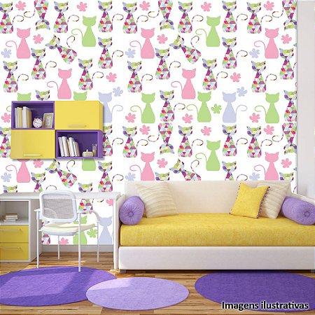 Papel de Parede Infantil Gatinhos Coloridos Texturizado Autocolante