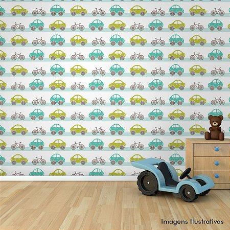 Papel de Parede Adesivo Infantil Carrinho e Bike
