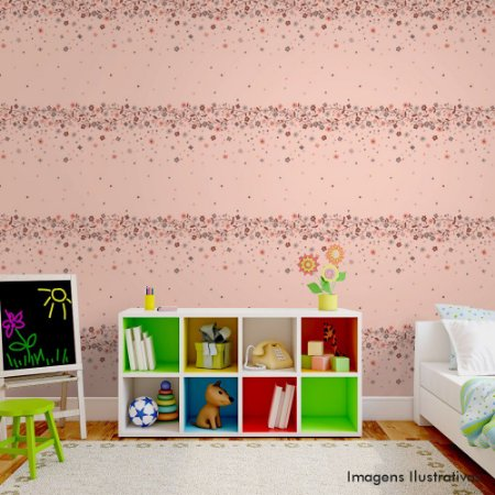 Papel de Parede Infantil Cordão de Flores Texturizado Autocolante