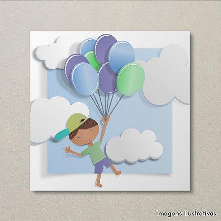 Quadro Decorativo Infantil Menino com Balões