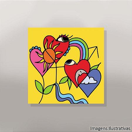 Quadro Decorativo Abstrato Flores de Corações