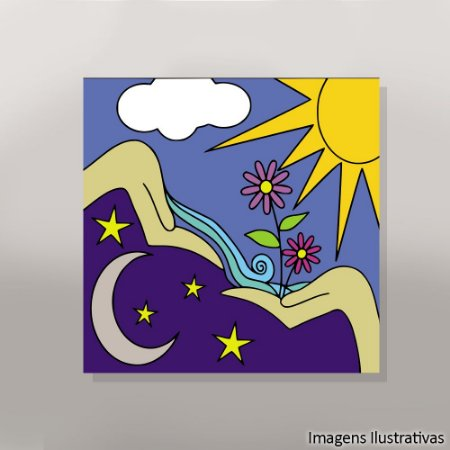 Quadro Infantil Abstrato Mar e Sol