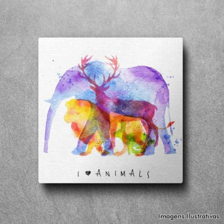 Quadro Decorativo Eu Amo Animais