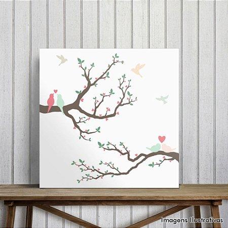Quadro Decorativo Pássaros Apaixonados