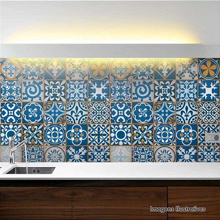 Adesivo de Azulejo Hidráulico Ladrilho Azul e Laranja