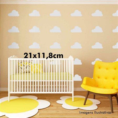 Adesivo de Parede Infantil Nuvens - Cartela Com 30 Unidades