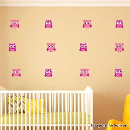 Adesivo de Parede Infantil Coruja - Cartela Com 30 Unidades