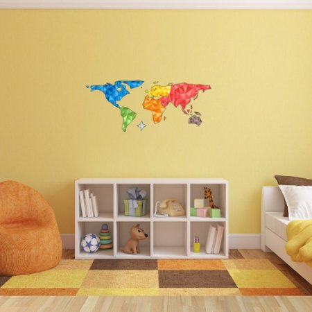 Adesivo de Parede Decorativo Mapa Mundi