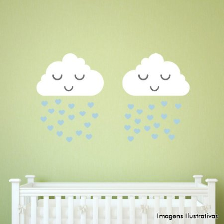 Adesivo de Parede infantil Nuvens Chuva Menino