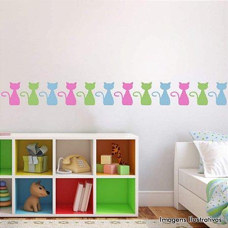 Adesivo de Parede Infantil Gatinhos Sentados - Cartela com 30 Unidades