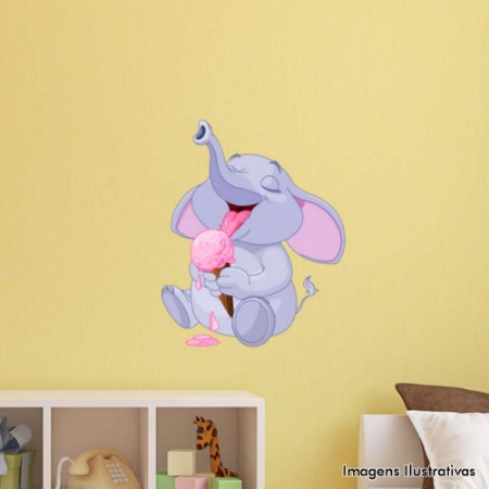 Adesivo de Parede Infantil Elefante Tomando Sorvete
