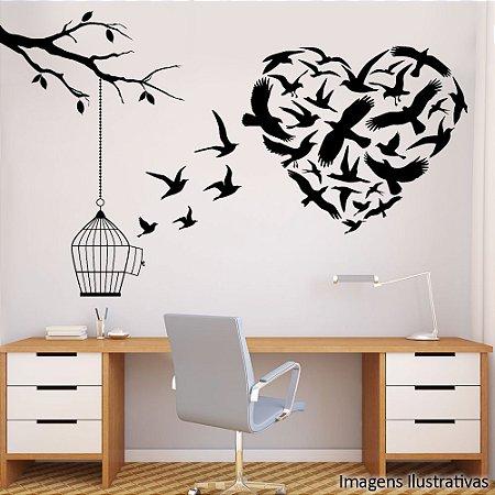 Adesivo de Parede Coração de Pássaros