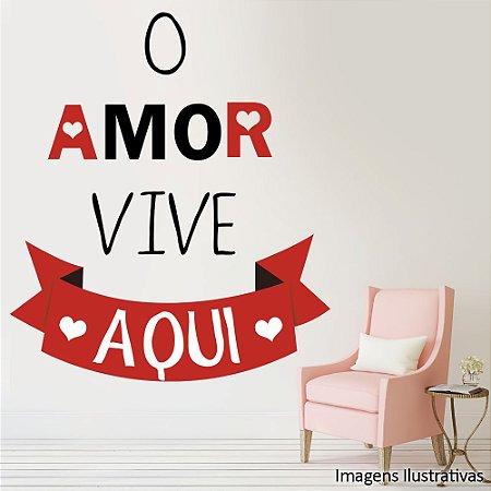 Adesivo De Parede Frases O Amor Vive Aqui Papel De Parede