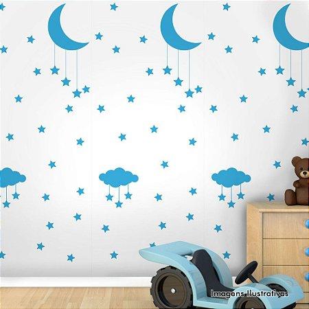 Papel de Parede Infantil Noite Estrelada Branco com Azul Texturizado Autocolante