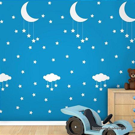 Papel de Parede Adesivo Infantil Noite Estrelada Azul com Branco