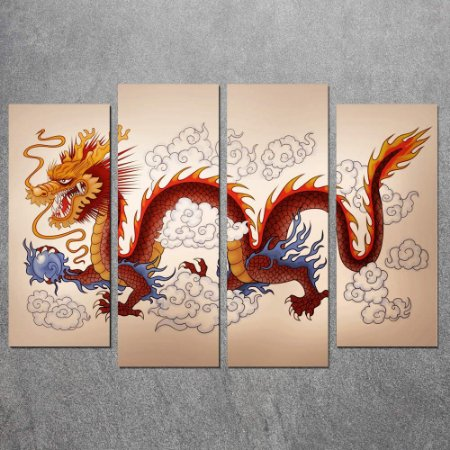 Conjunto de Quadros Decorativo Dragão Chines  0,70 x 1,00 m