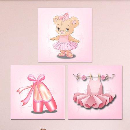 Kit Quadro Decorativo Infantil Bailarina