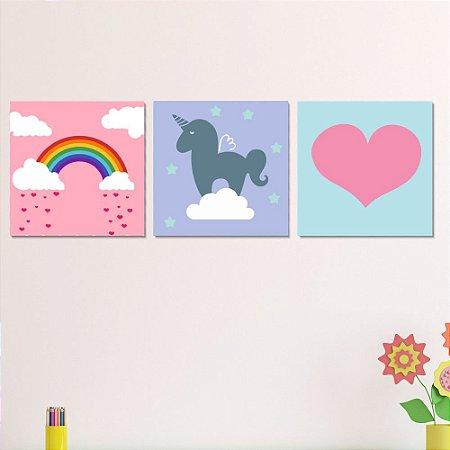 Kit Quadro Decorativo Infantil Arco Íris - Unicórnio - Coração