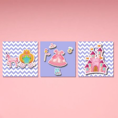 Kit Quadro Decorativo Infantil Princesa - Castelo - Carruagem